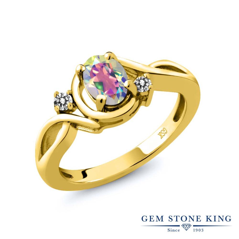 【10%OFF】 Gem Stone King 0.87カラット 天然石 ミスティックトパーズ (マーキュリーミスト) 天然 ダイヤモンド 指輪 リング レディース シルバー925 イエローゴールド 加工 シンプル ソリティア クリスマスプレゼント 女性 彼女 妻 誕生日