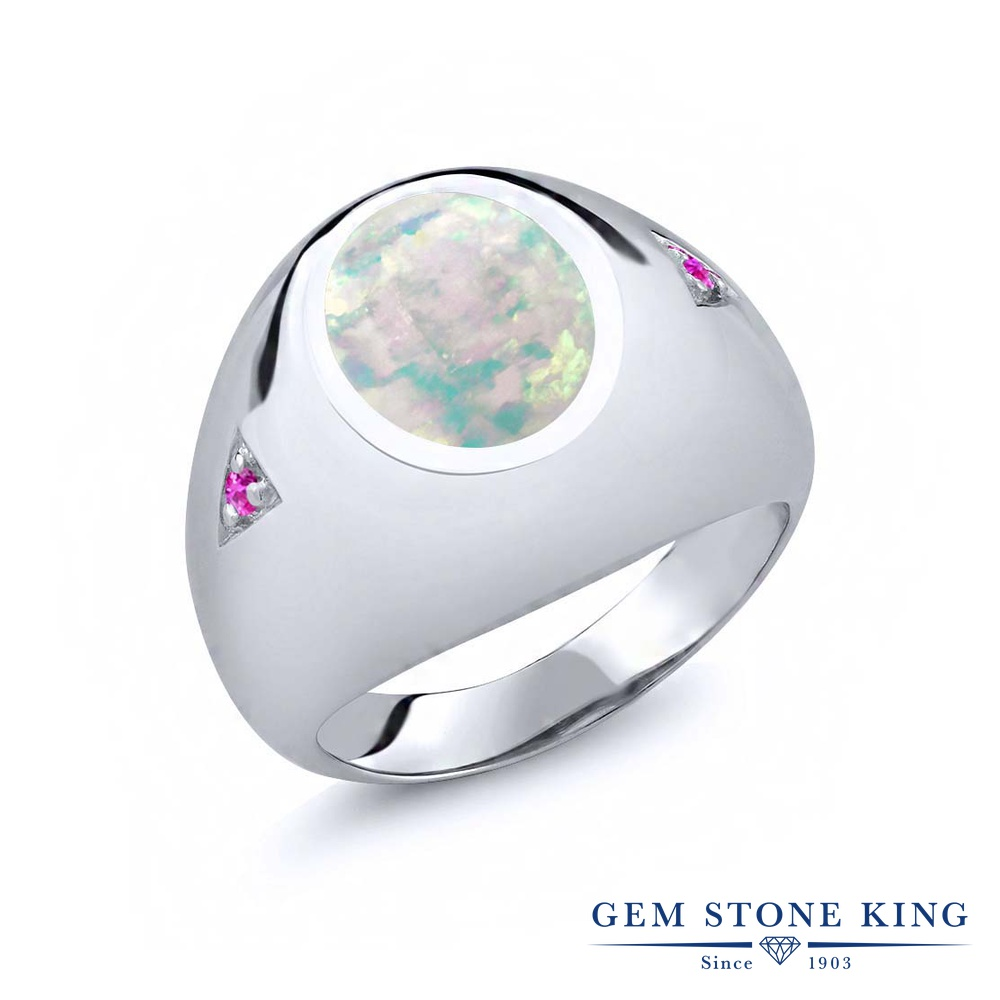 Gem Stone King 4.1カラット シミュレイテッド ホワイトオパール 天然 ピンクサファイア シルバー925 指輪 リング レディース 大粒 シンプル ソリティア 10月 誕生石 金属アレルギー対応 誕生日プレゼント