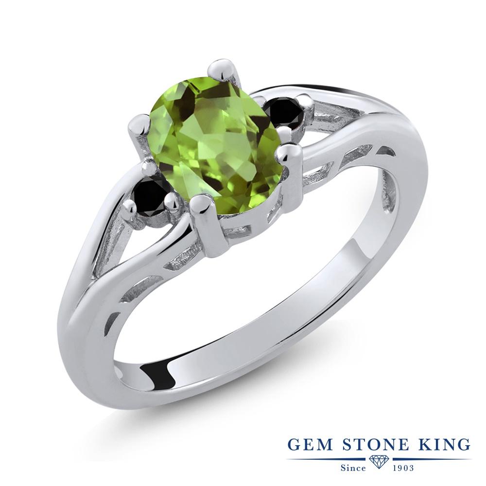正規品 リング レディース 毎日がバーゲンセール 人気 ブランド 女性 プレゼント 1.4カラット 天然石 ペリドット 指輪 ブラックダイヤモンド ホワイトデー スリーストーン シルバー925 金属アレルギー対応 大粒 8月 お返し 緑 誕生石 おしゃれ シンプル