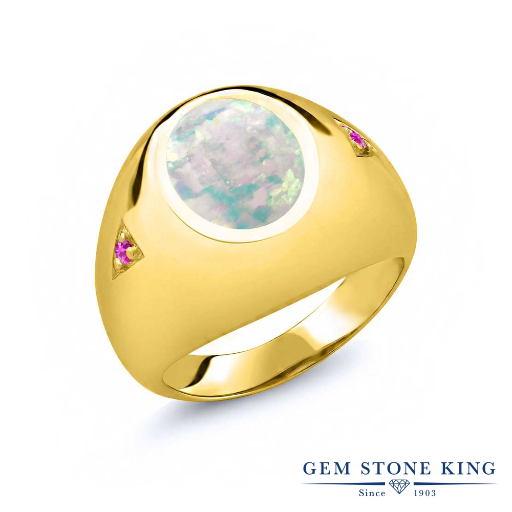 Gem Stone King 4.1カラット シミュレイテッド ホワイトオパール 天然 ピンクサファイア シルバー925 イエローゴールドコーティング 指輪 リング レディース 大粒 シンプル ソリティア 10月 誕生石 金属アレルギー対応 誕生日プレゼント