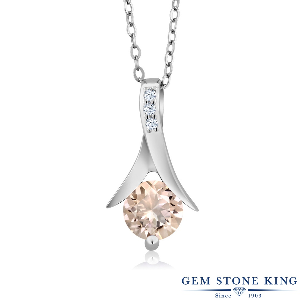 Gem Stone King 0.66カラット 天然モルガナイト(ピーチ) 天然トパーズ(無色透明) シルバー925 ネックレス ペンダント レディース 天然石 誕生石 誕生日プレゼント