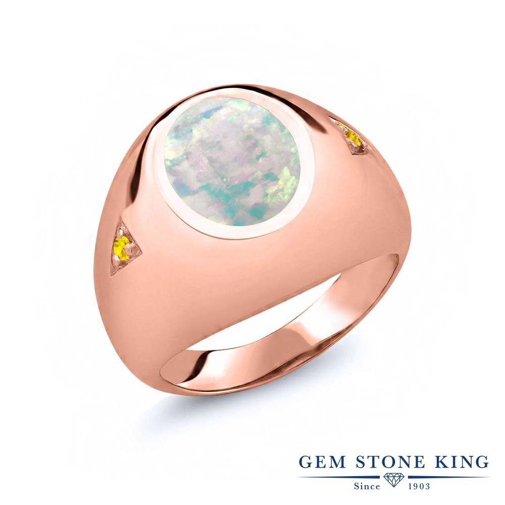 【10%OFF】 Gem Stone King 4.1カラット シミュレイテッド ホワイトオパール 天然 イエローサファイア 指輪 リング レディース シルバー925 ピンクゴールド 加工 大粒 シンプル ソリティア 10月 誕生石 クリスマスプレゼント 女性 彼女 妻 誕生日