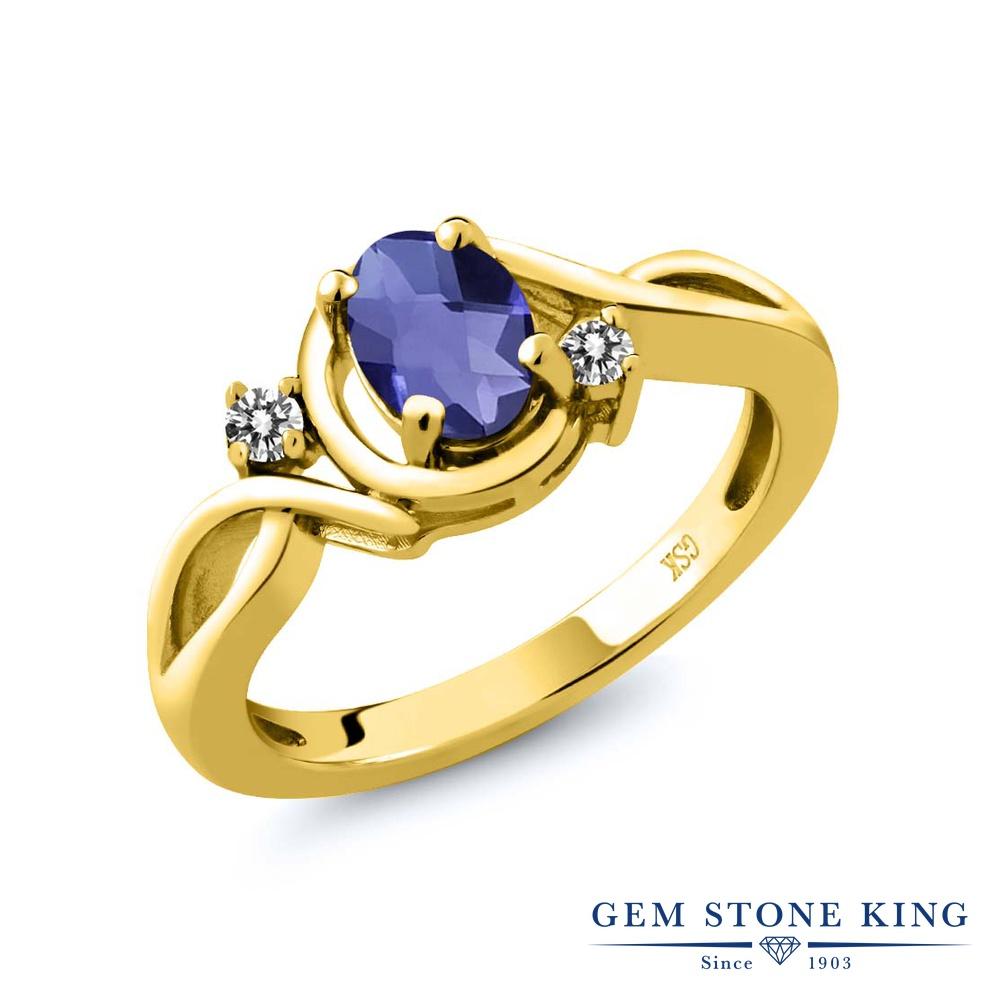 Gem Stone King 0.72カラット 天然 アイオライト (ブルー) 天然 ダイヤモンド シルバー925 イエローゴールドコーティング 指輪 リング レディース シンプル ソリティア 天然石 金属アレルギー対応 誕生日プレゼント