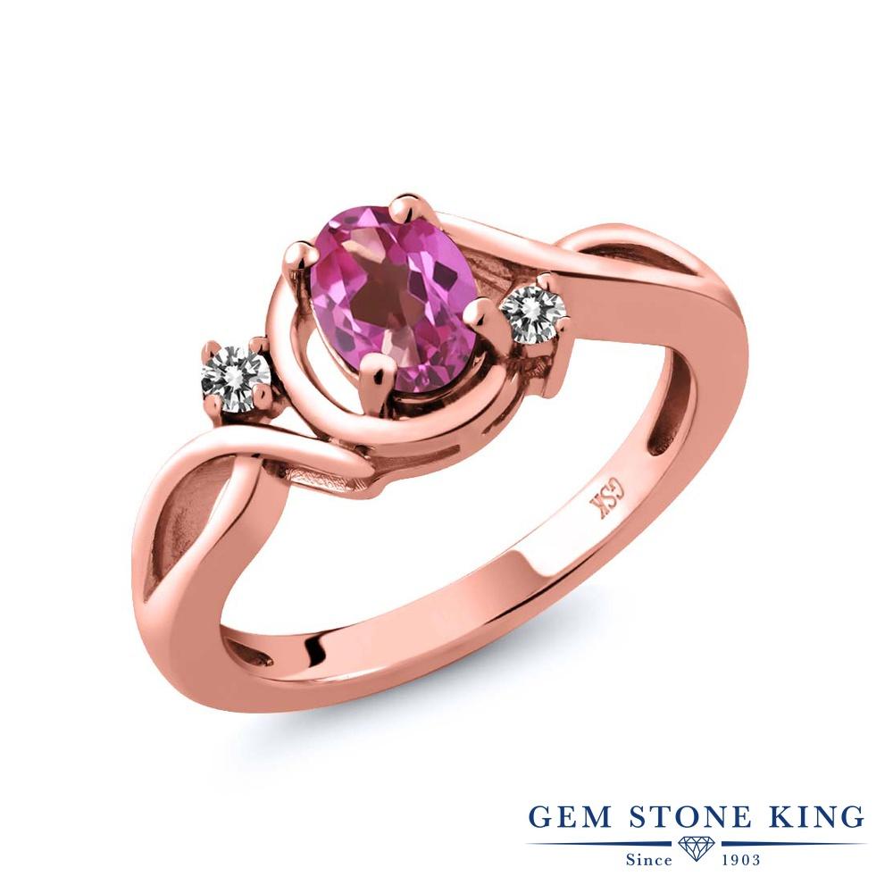 Gem Stone King 0.87カラット 天然 ミスティックトパーズ (ピンク) 天然 ダイヤモンド シルバー925 ピンクゴールドコーティング 指輪 リング レディース シンプル ソリティア 天然石 金属アレルギー対応 誕生日プレゼント