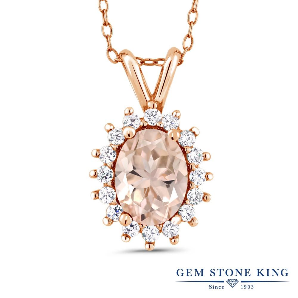 Gem Stone King 1.24カラット 天然 モルガナイト (ピーチ) シルバー925 ピンクゴールドコーティング ネックレス ペンダント レディース 大粒 天然石 3月 誕生石 金属アレルギー対応 誕生日プレゼント