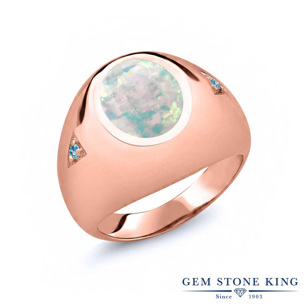 Gem Stone King 4.1カラット シミュレイテッド ホワイトオパール シミュレイテッド スカイブルートパーズ シルバー925 ピンクゴールドコーティング 指輪 リング レディース 大粒 シンプル ソリティア 10月 誕生石 金属アレルギー対応 誕生日プレゼント