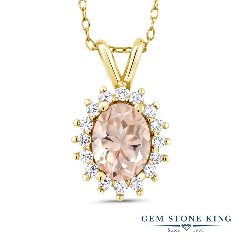 Gem Stone King 1.24カラット 天然 モルガナイト (ピーチ) シルバー925 イエローゴールドコーティング ネックレス ペンダント レディース 大粒 天然石 3月 誕生石 金属アレルギー対応 誕生日プレゼント