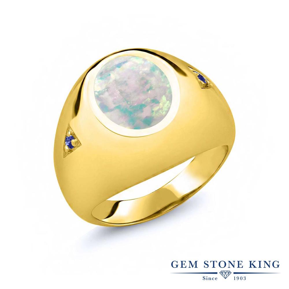 【10%OFF】 Gem Stone King 4.08カラット シミュレイテッド ホワイトオパール 天然石 タンザナイト 指輪 リング レディース シルバー925 イエローゴールド 加工 大粒 シンプル ソリティア 10月 誕生石 クリスマスプレゼント 女性 彼女 妻 誕生日