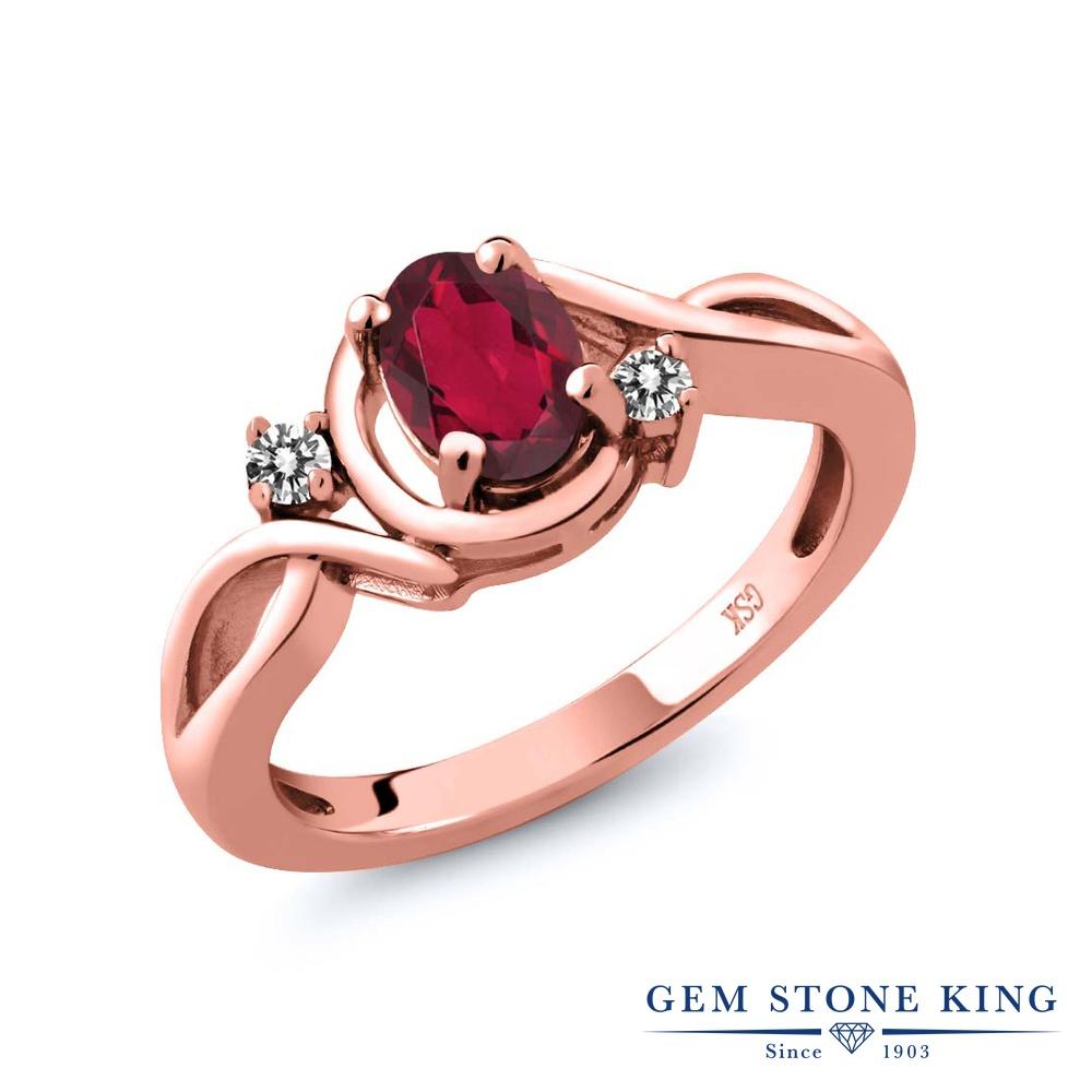 【10%OFF】 Gem Stone King 0.87カラット 天然 ミスティックトパーズ (ルビーレッド) ダイヤモンド 指輪 リング レディース シルバー925 ピンクゴールド 加工 シンプル ソリティア 天然石 クリスマスプレゼント 女性 彼女 妻 誕生日