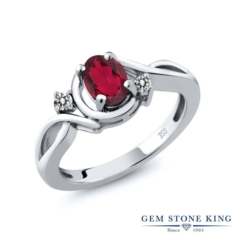 【10%OFF】 Gem Stone King 0.87カラット 天然 ミスティックトパーズ (ルビーレッド) ダイヤモンド 指輪 リング レディース シルバー925 シンプル ソリティア 天然石 クリスマスプレゼント 女性 彼女 妻 誕生日