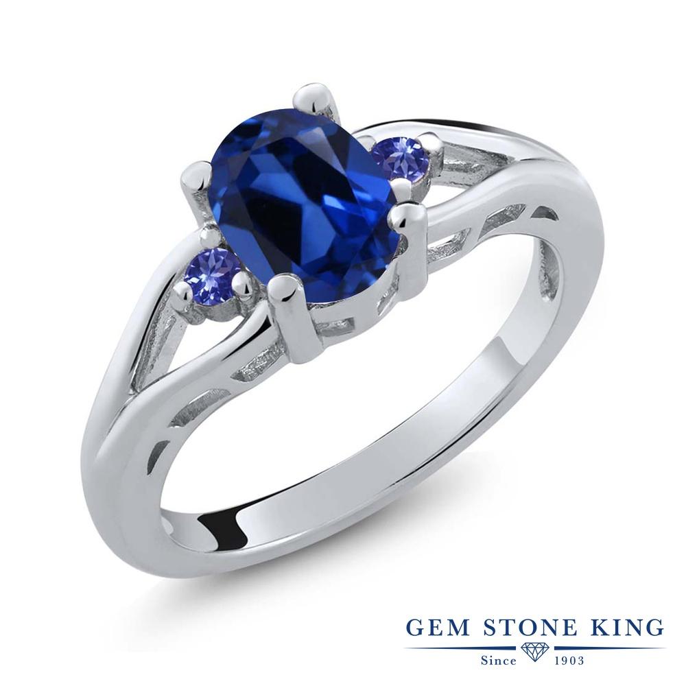 1.68カラット 合成サファイア 指輪 レディース リング 天然石 タンザナイト シルバー925 ブランド おしゃれ 青 大粒 シンプル スリーストーン 金属アレルギー対応