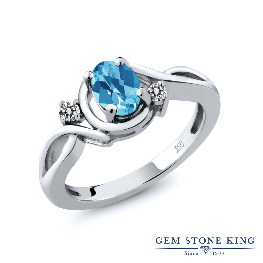 【10%OFF】 Gem Stone King 1.02カラット 天然 スイスブルートパーズ ダイヤモンド 指輪 リング レディース シルバー925 シンプル ソリティア 天然石 11月 誕生石 クリスマスプレゼント 女性 彼女 妻 誕生日