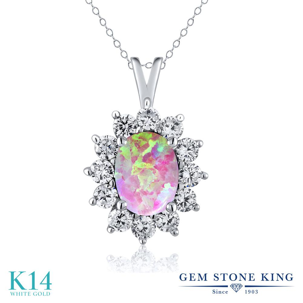 Gem Stone King 1.65カラット シミュレイテッド ピンクオパール 14金 ホワイトゴールド(K14) ネックレス ペンダント レディース 大粒 10月 誕生石 金属アレルギー対応 誕生日プレゼント