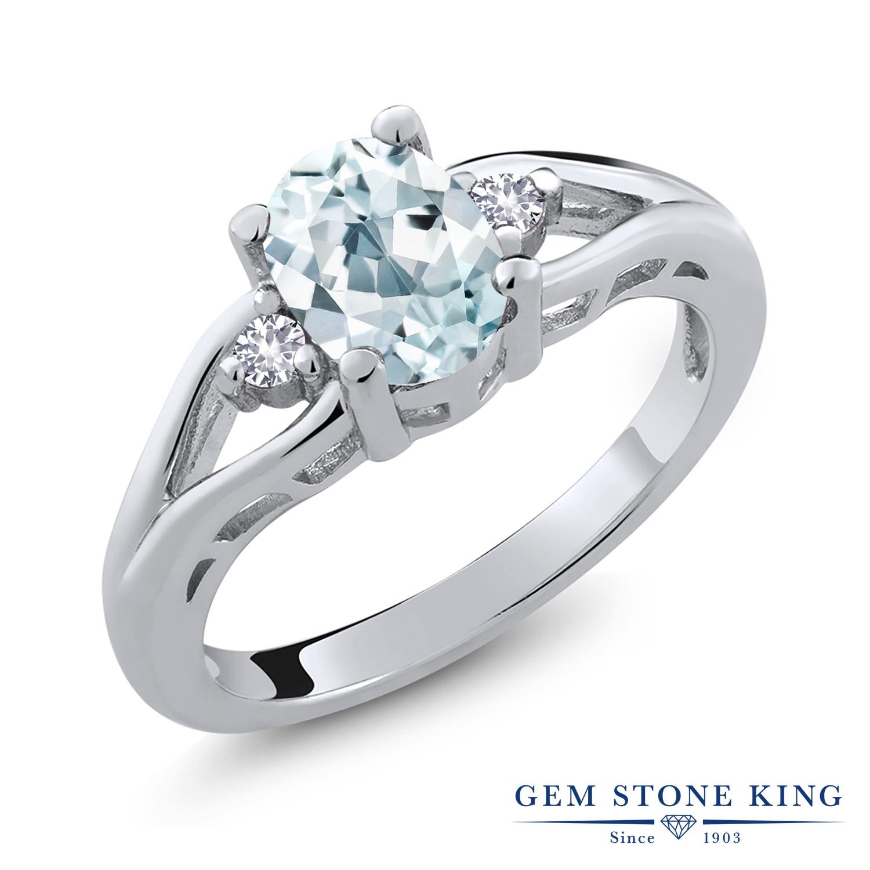 1.18カラット 天然 アクアマリン 合成ホワイトサファイア (ダイヤのような無色透明) 指輪 リング レディース シルバー925 大粒 シンプル スリーストーン 天然石 3月 誕生石 金属アレルギー対応