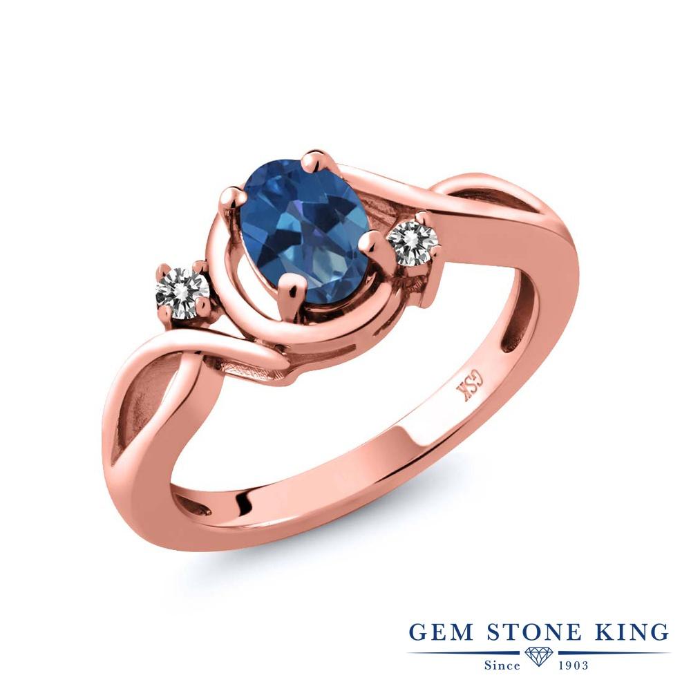 【10%OFF】 Gem Stone King 0.87カラット 天然 ミスティックトパーズ (サファイアブルー) ダイヤモンド 指輪 リング レディース シルバー925 ピンクゴールド 加工 シンプル ソリティア 天然石 クリスマスプレゼント 女性 彼女 妻 誕生日