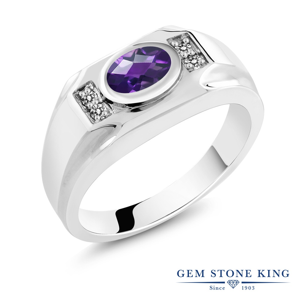Gem Stone King 1.13カラット 天然 アメジスト 天然 ダイヤモンド シルバー925 指輪 リング レディース 大粒 マルチストーン 天然石 2月 誕生石 金属アレルギー対応 誕生日プレゼント