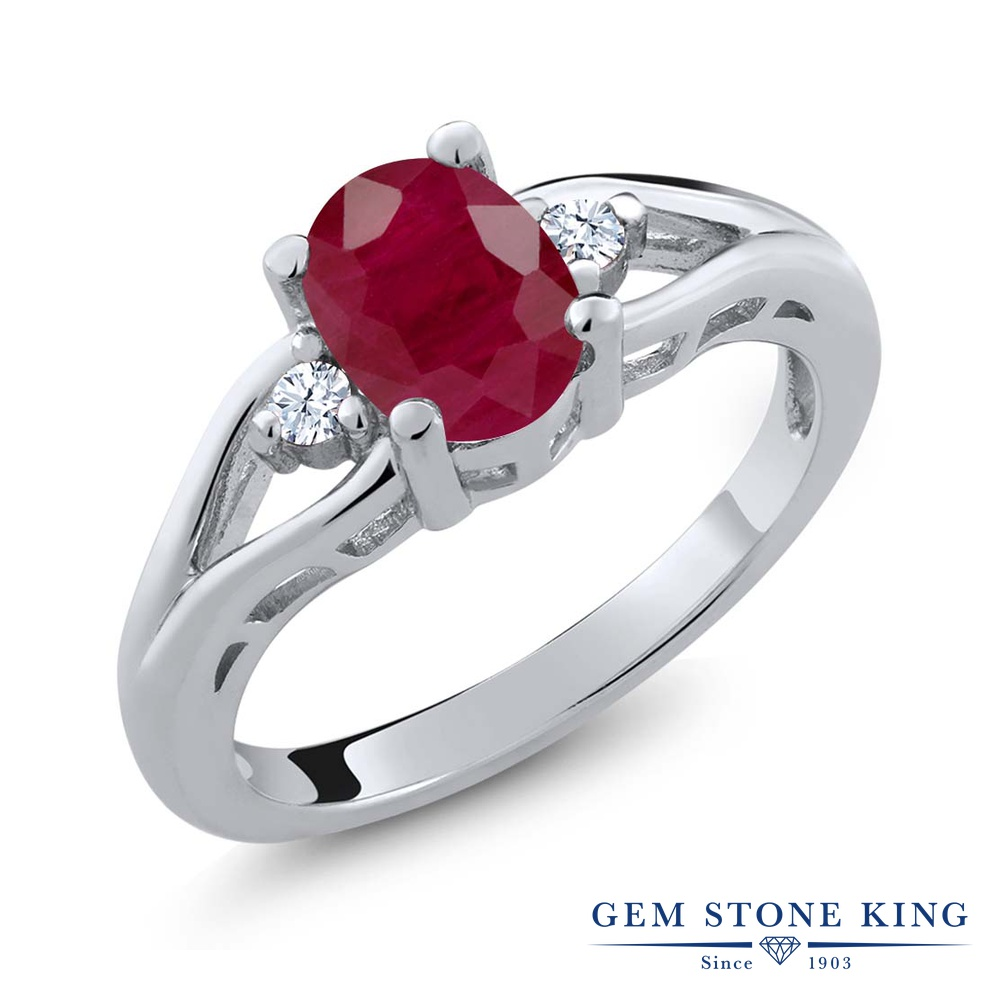 Gem Stone King 1.66カラット 天然 ルビー シルバー925 指輪 リング レディース 大粒 シンプル スリーストーン 天然石 7月 誕生石 金属アレルギー対応 誕生日プレゼント