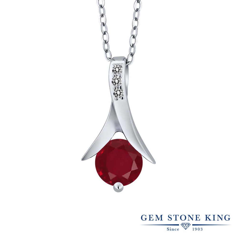 【クーポンで7%OFF】 Gem Stone King 1.05カラット 天然 ルビー 天然 ダイヤモンド シルバー925 ネックレス ペンダント レディース 大粒 天然石 7月 誕生石 プレゼント 女性 彼女 誕生日 クリスマス