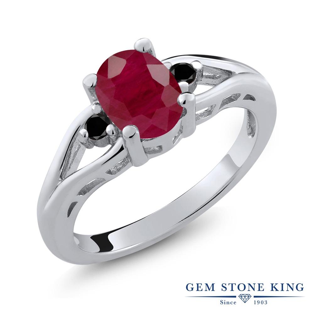 Gem Stone King 1.67カラット 天然 ルビー 天然ブラックダイヤモンド シルバー925 指輪 リング レディース 大粒 シンプル スリーストーン 天然石 7月 誕生石 金属アレルギー対応 誕生日プレゼント