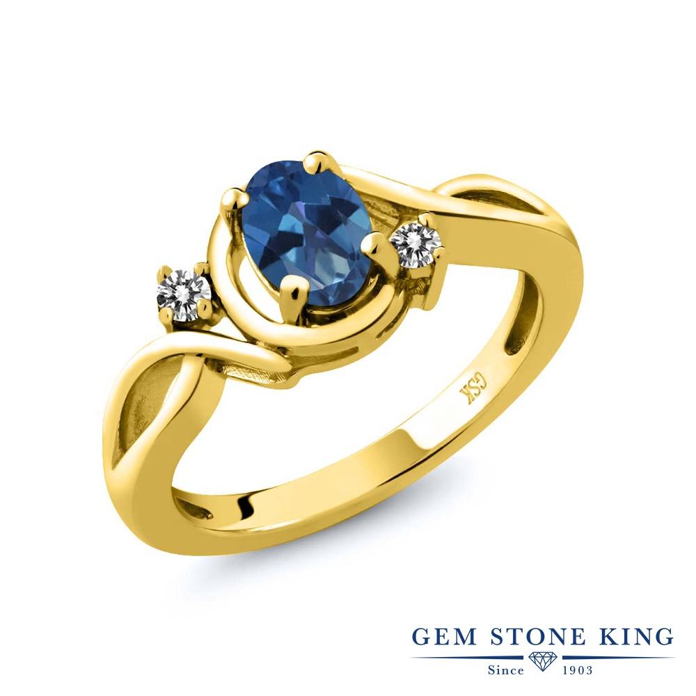 Gem Stone King 0.87カラット 天然 ミスティックトパーズ (サファイアブルー) 天然 ダイヤモンド シルバー925 イエローゴールドコーティング 指輪 リング レディース シンプル ソリティア 天然石 金属アレルギー対応 誕生日プレゼント