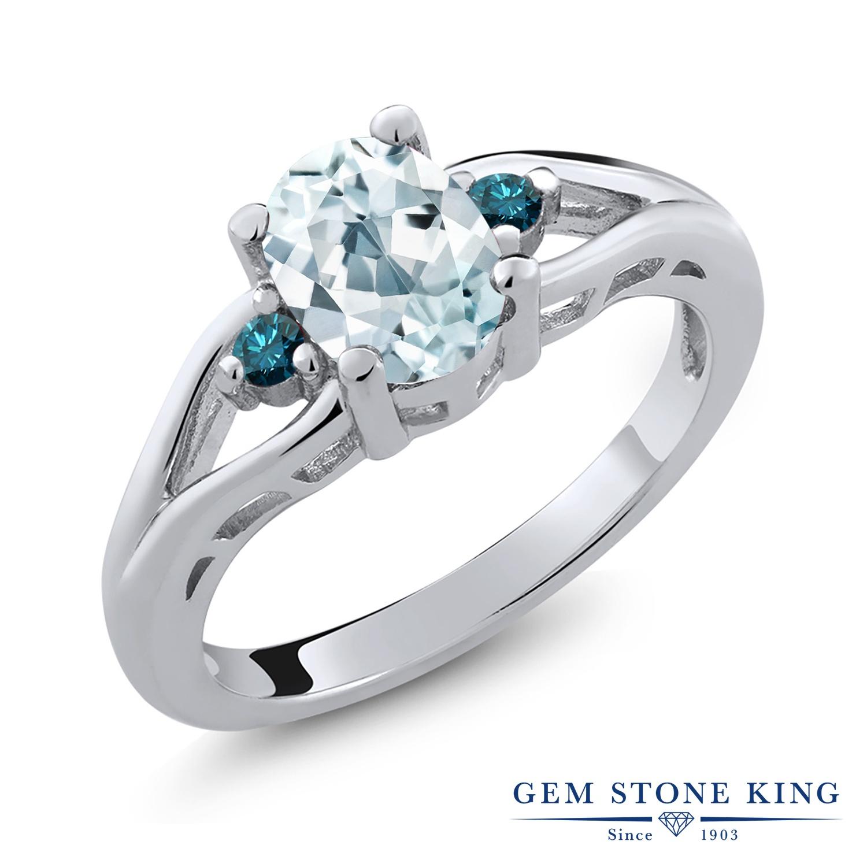 【10%OFF】 Gem Stone King 1.17カラット 天然 アクアマリン ブルーダイヤモンド 指輪 リング レディース シルバー925 大粒 シンプル スリーストーン 天然石 3月 誕生石 クリスマスプレゼント 女性 彼女 妻 誕生日