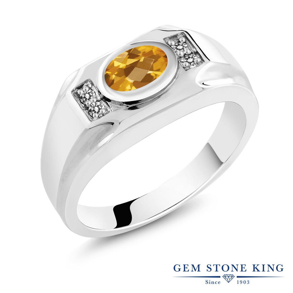 Gem Stone King 1.38カラット 天然 シトリン 天然 ダイヤモンド シルバー925 指輪 リング レディース 大粒 マルチストーン 天然石 11月 誕生石 金属アレルギー対応 誕生日プレゼント