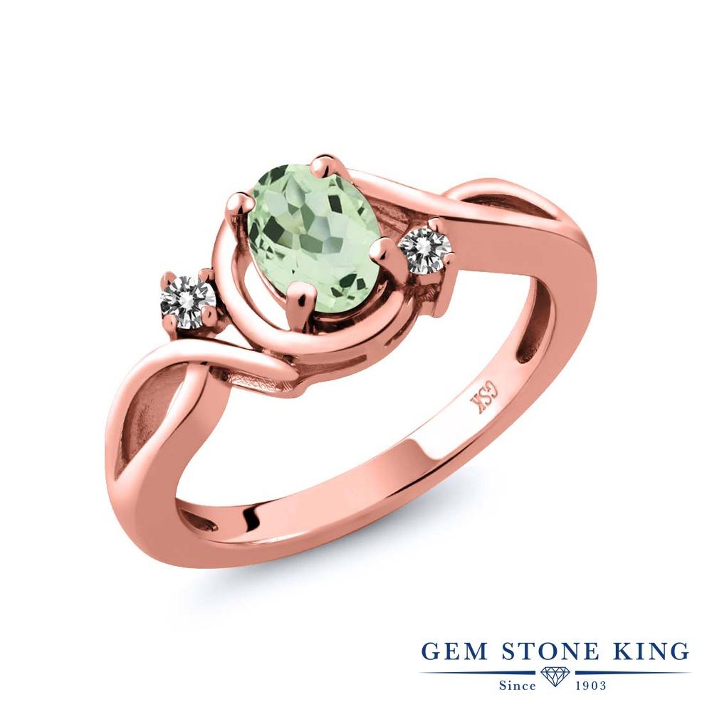 【10%OFF】 Gem Stone King 0.82カラット 天然 プラジオライト (グリーンアメジスト) ダイヤモンド 指輪 リング レディース シルバー925 ピンクゴールド 加工 シンプル ソリティア 天然石 クリスマスプレゼント 女性 彼女 妻 誕生日