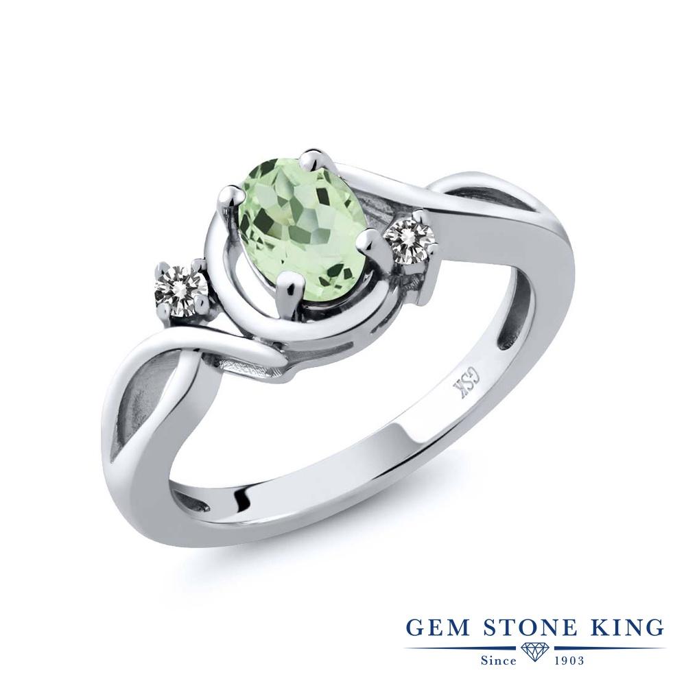 【10%OFF】 Gem Stone King 0.82カラット 天然 プラジオライト (グリーンアメジスト) ダイヤモンド 指輪 リング レディース シルバー925 シンプル ソリティア 天然石 クリスマスプレゼント 女性 彼女 妻 誕生日