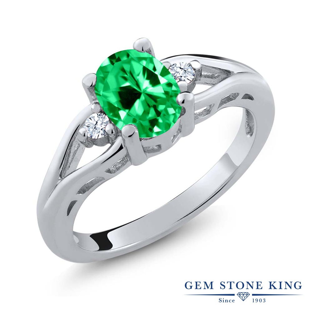 Gem Stone King 1.27カラット ジルコニア (グリーン) 指輪 リング レディース シルバー925 CZ 大粒 シンプル スリーストーン 金属アレルギー対応