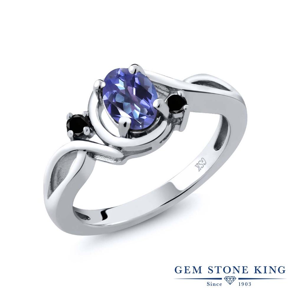0.87カラット 天然 ミスティックトパーズ (タンザナイトブルー) ブラックダイヤモンド 指輪 リング レディース シルバー925 シンプル ソリティア 天然石 金属アレルギー対応