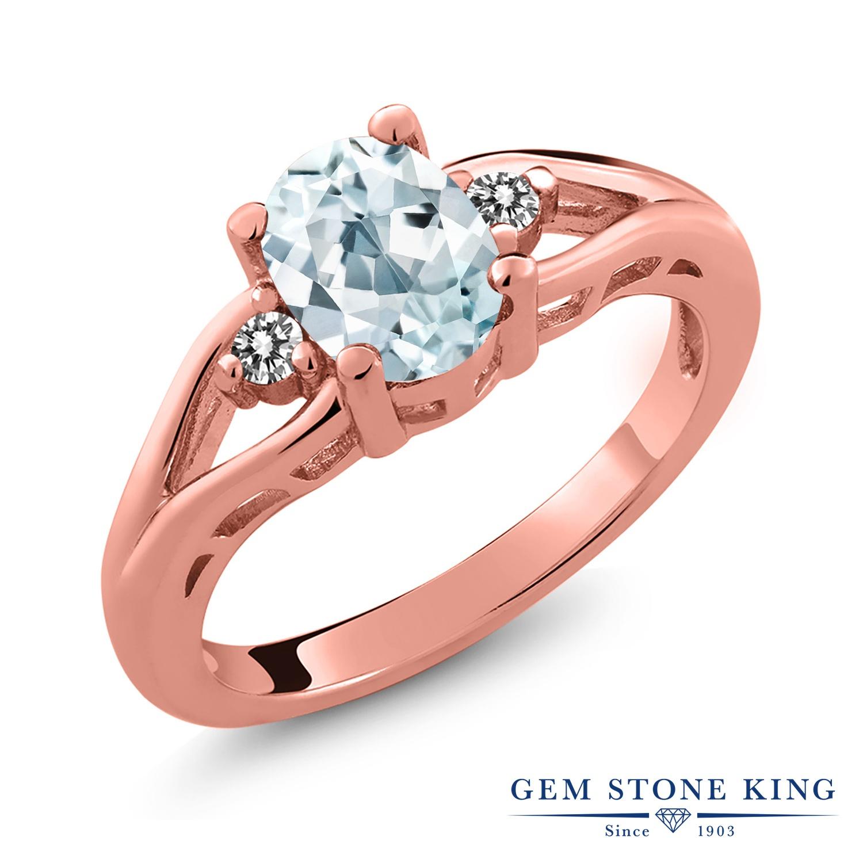 1.17カラット 天然 アクアマリン 指輪 レディース リング ダイヤモンド ピンクゴールド 加工 シルバー925 ブランド おしゃれ 水色 大粒 シンプル スリーストーン 天然石 3月 誕生石 プレゼント 女性 彼女 妻 誕生日