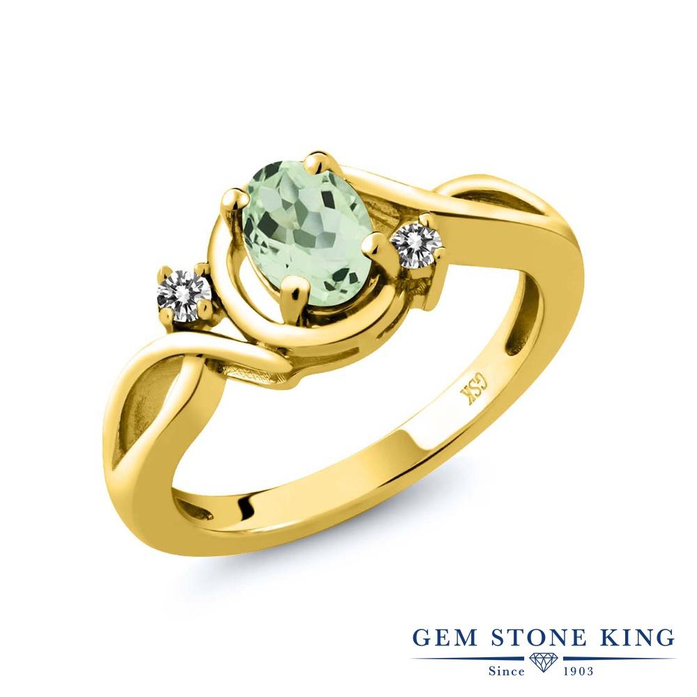 0.82カラット 天然 プラジオライト (グリーンアメジスト) 指輪 レディース リング ダイヤモンド イエローゴールド 加工 シルバー925 ブランド おしゃれ ツイスト ねじれ 緑 シンプル ソリティア 天然石 プレゼント 女性 彼女 妻 誕生日