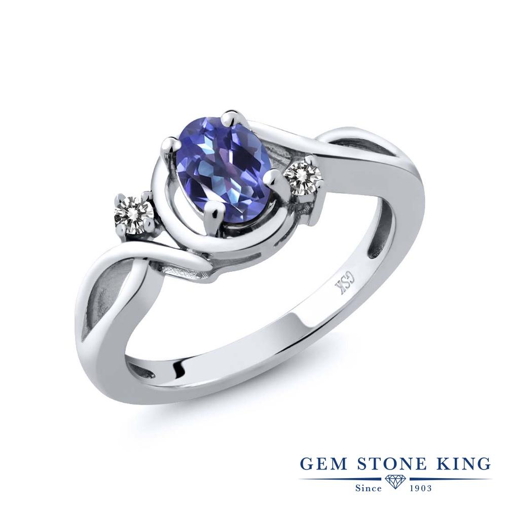 Gem Stone King 0.87カラット 天然 ミスティックトパーズ (タンザナイトブルー) 天然 ダイヤモンド シルバー925 指輪 リング レディース シンプル ソリティア 天然石 金属アレルギー対応 誕生日プレゼント