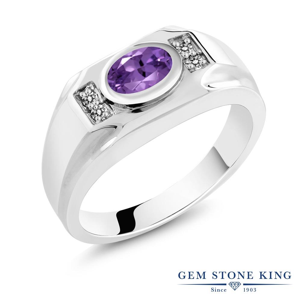 【10%OFF】 Gem Stone King 1.23カラット 天然 アメジスト ダイヤモンド 指輪 リング レディース シルバー925 アメシスト 大粒 マルチストーン 天然石 2月 誕生石 クリスマスプレゼント 女性 彼女 妻 誕生日
