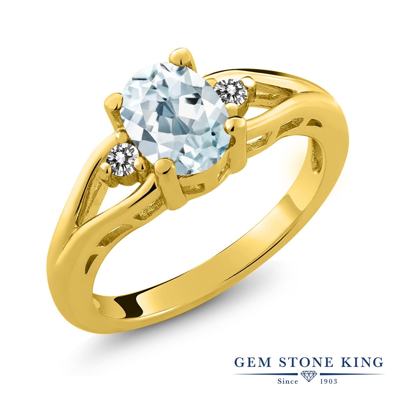 1.17カラット 天然 アクアマリン 指輪 レディース リング ダイヤモンド イエローゴールド 加工 シルバー925 ブランド おしゃれ 水色 大粒 シンプル スリーストーン 天然石 3月 誕生石 プレゼント 女性 彼女 妻 誕生日