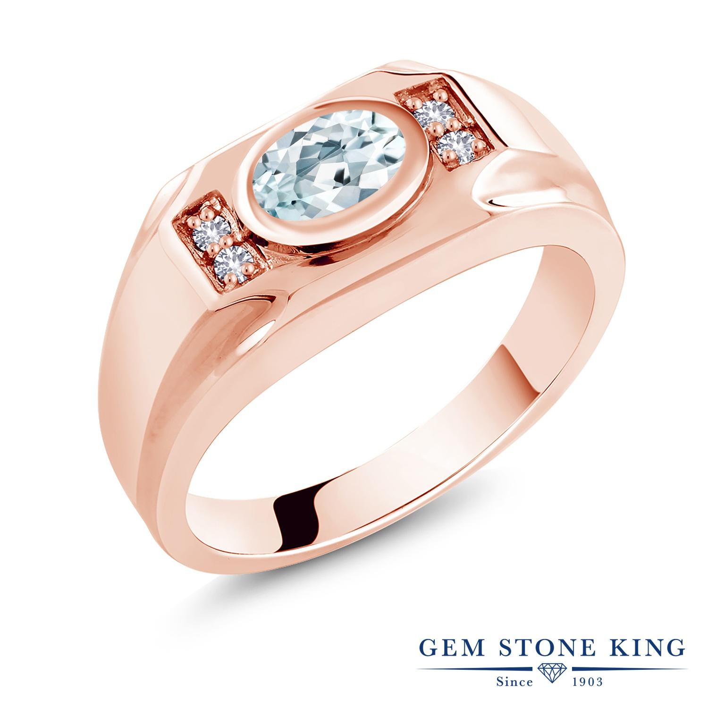 【10%OFF】 Gem Stone King 1.26カラット 天然 アクアマリン 合成ホワイトサファイア (ダイヤのような無色透明) 指輪 リング レディース シルバー925 ピンクゴールド 加工 大粒 マルチストーン 天然石 3月 誕生石 クリスマスプレゼント 女性 彼女 妻 誕生日