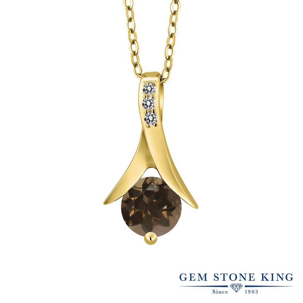 Gem Stone King 0.85カラット 天然スモーキークォーツ(ブラウン) シルバー 925 イエローゴールドコーティング 天然ダイヤモンド ネックレス ペンダント レディース 天然石 誕生日プレゼント