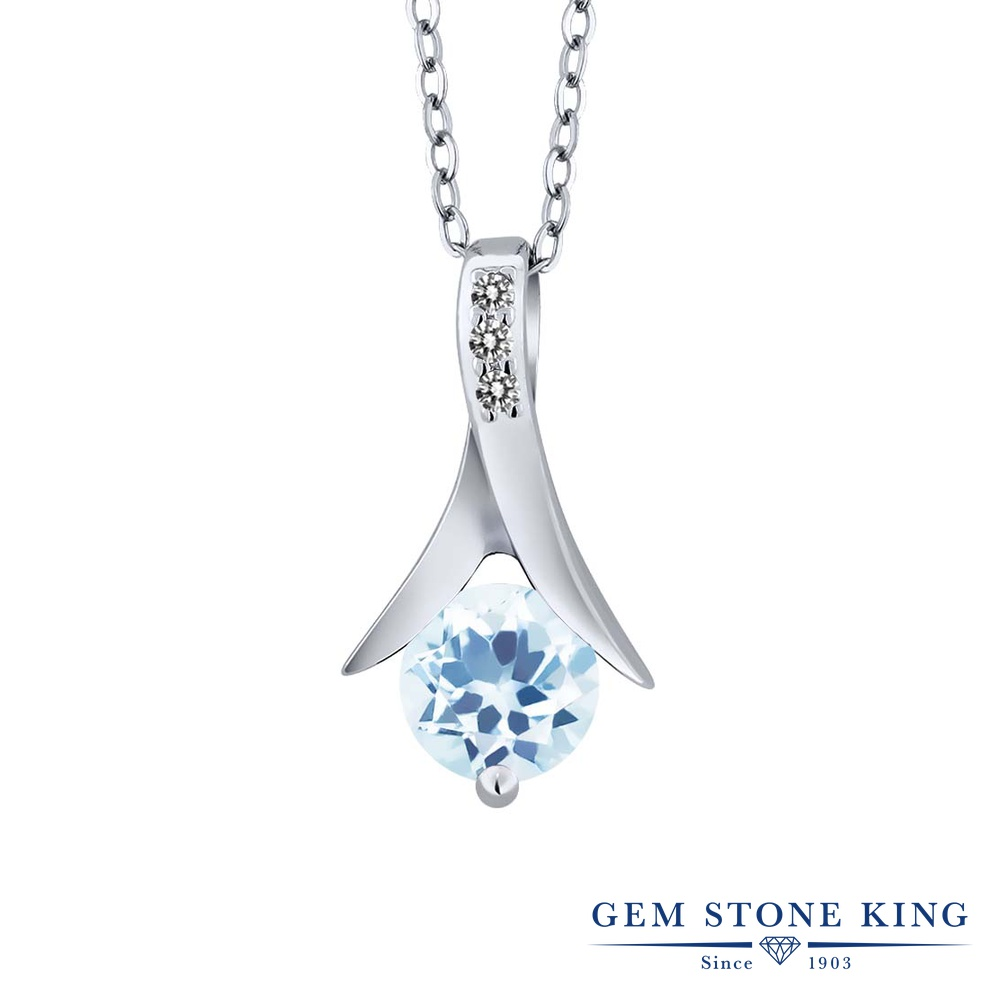 Gem Stone King 0.95カラット 天然トパーズ(スカイブルー) シルバー925 天然ダイヤモンド ネックレス ペンダント レディース 天然石 誕生石 誕生日プレゼント