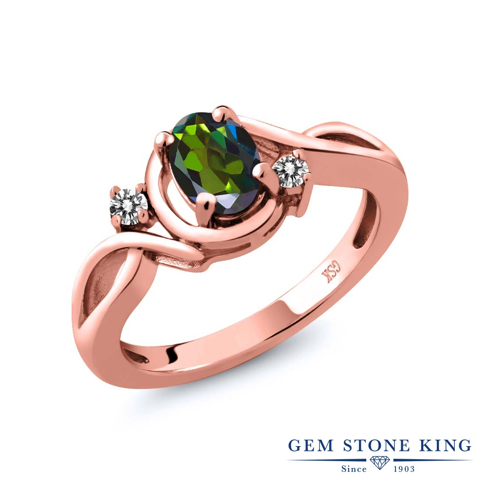 Gem Stone King 0.87カラット 天然 ミスティックトパーズ (トルマリングリーン) 天然 ダイヤモンド シルバー925 ピンクゴールドコーティング 指輪 リング レディース シンプル ソリティア 天然石 金属アレルギー対応 誕生日プレゼント