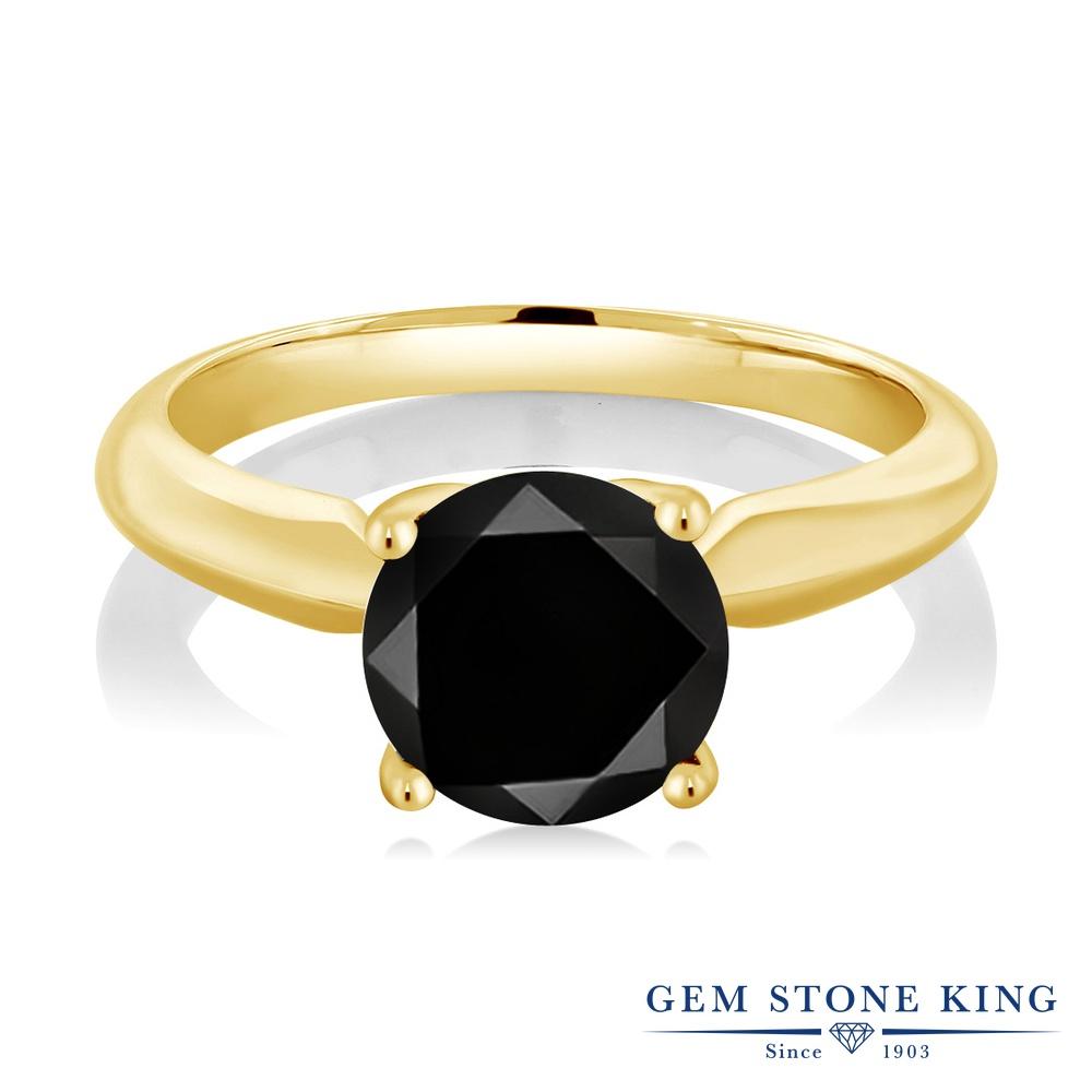 Gem Stone King 2.2カラット 天然ブラックダイヤモンド シルバー925 イエローゴールドコーティング 指輪 リング レディース ブラック ダイヤ 大粒 一粒 シンプル ソリティア 天然石 4月 誕生石 金属アレルギー対応 誕生日プレゼント