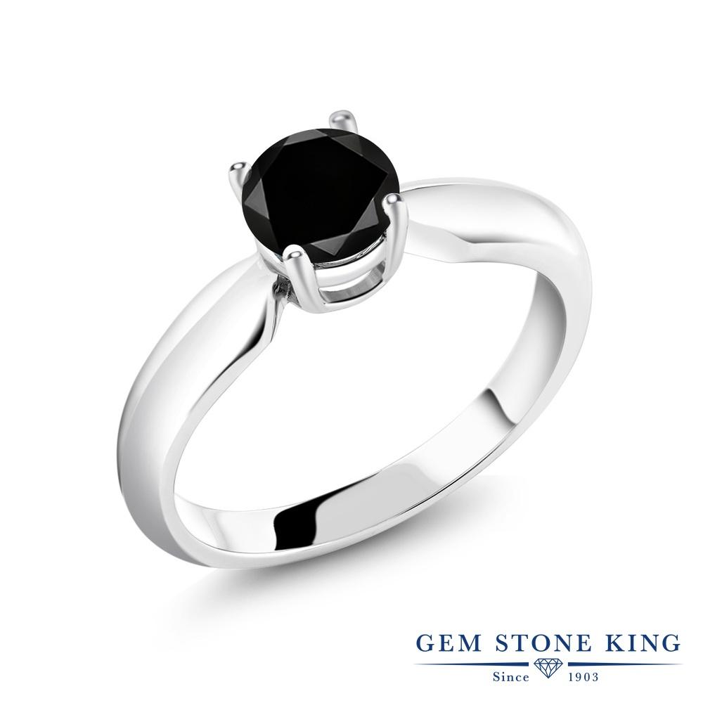 Gem Stone King 1.05カラット 天然ブラックダイヤモンド シルバー925 指輪 リング レディース ブラック ダイヤ 大粒 一粒 シンプル ソリティア 天然石 4月 誕生石 金属アレルギー対応 誕生日プレゼント