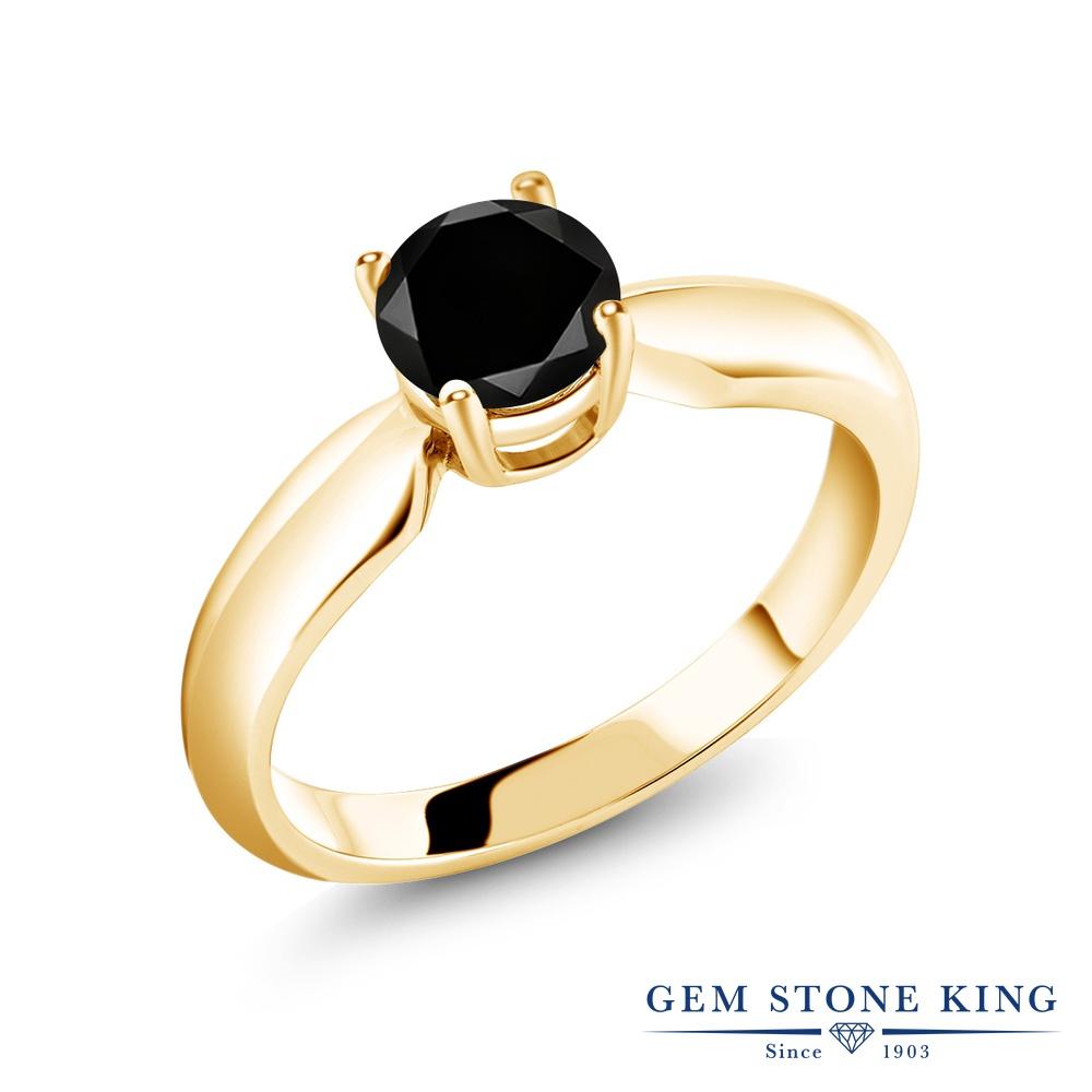 Gem Stone King 1.05カラット 天然ブラックダイヤモンド シルバー925 イエローゴールドコーティング 指輪 リング レディース ブラック ダイヤ 大粒 一粒 シンプル ソリティア 天然石 4月 誕生石 金属アレルギー対応 誕生日プレゼント