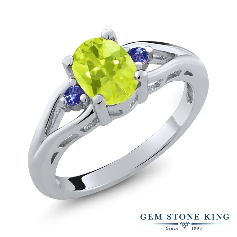 Gem Stone King 1.18カラット 天然 レモンクォーツ 天然石 タンザナイト 指輪 リング レディース シルバー925 大粒 シンプル スリーストーン 金属アレルギー対応