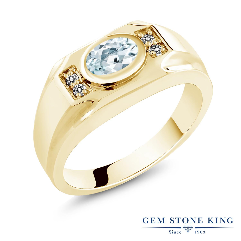 Gem Stone King 1.23カラット 天然アクアマリン シルバー 925 イエローゴールドコーティング 天然ダイヤモンド 指輪 リング レディース 大粒 天然石 誕生石 誕生日プレゼント