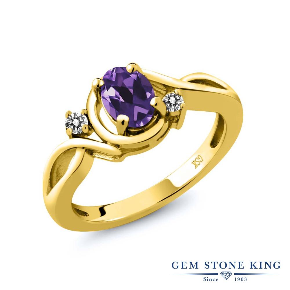 【10%OFF】 Gem Stone King 0.82カラット 天然 アメジスト ダイヤモンド 指輪 リング レディース シルバー925 イエローゴールド 加工 アメシスト シンプル ソリティア 天然石 2月 誕生石 クリスマスプレゼント 女性 彼女 妻 誕生日