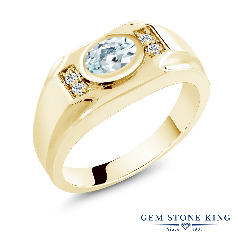 【10%OFF】 Gem Stone King 1.26カラット 天然 アクアマリン トパーズ 指輪 リング レディース シルバー925 イエローゴールド 加工 大粒 マルチストーン 天然石 3月 誕生石 クリスマスプレゼント 女性 彼女 妻 誕生日