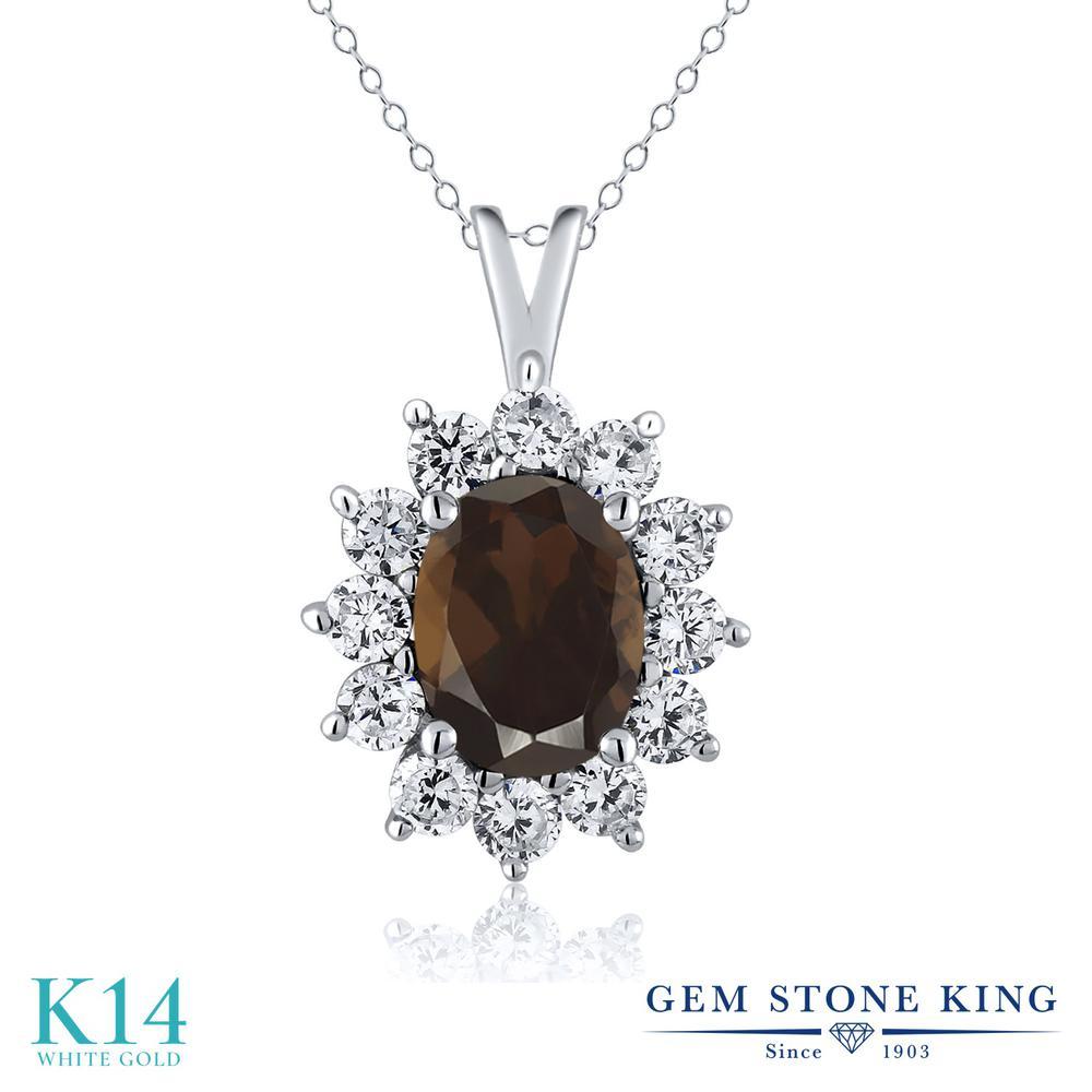 Gem Stone King 1.8カラット 天然 スモーキークォーツ (ブラウン) 14金 ホワイトゴールド(K14) ネックレス ペンダント レディース 大粒 天然石 金属アレルギー対応 誕生日プレゼント