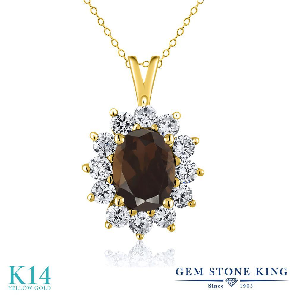 Gem Stone King 1.8カラット 天然 スモーキークォーツ (ブラウン) 14金 イエローゴールド(K14) ネックレス ペンダント レディース 大粒 天然石 金属アレルギー対応 誕生日プレゼント