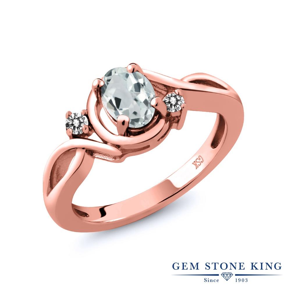 【10%OFF】 Gem Stone King 0.79カラット 天然 アクアマリン ダイヤモンド 指輪 リング レディース シルバー925 ピンクゴールド 加工 シンプル ソリティア 天然石 3月 誕生石 クリスマスプレゼント 女性 彼女 妻 誕生日