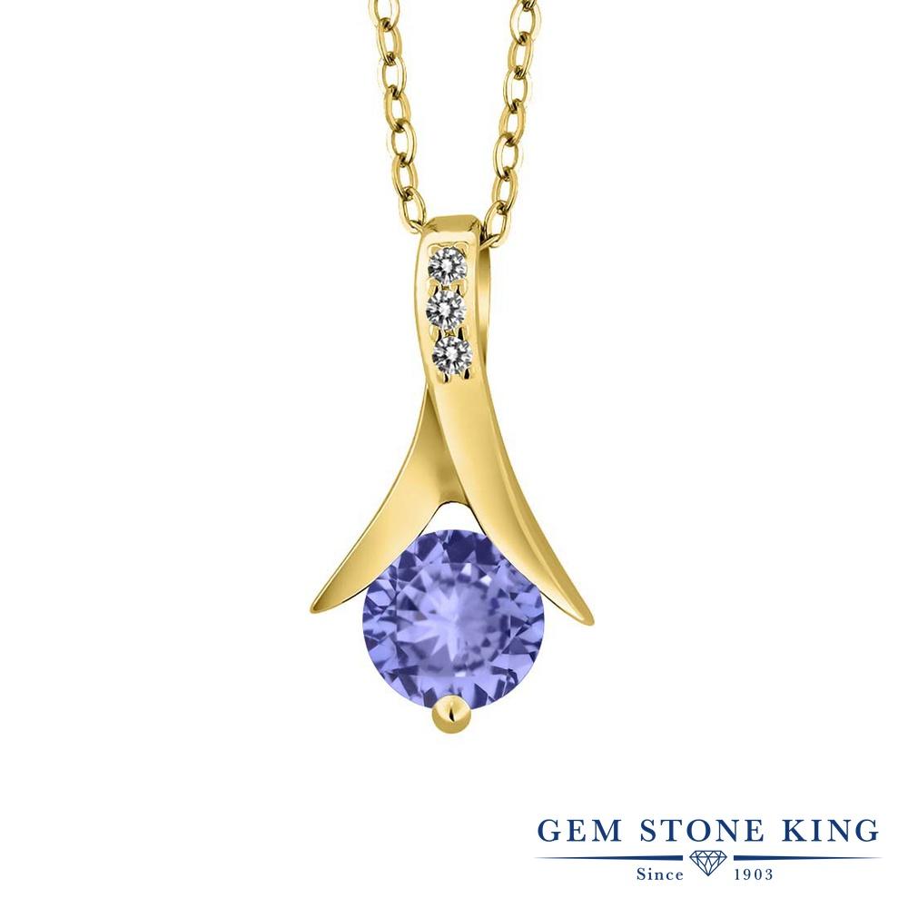 Gem Stone King 0.95カラット 天然石 タンザナイト 天然 ダイヤモンド シルバー925 イエローゴールドコーティング ネックレス ペンダント レディース 天然石 12月 誕生石 金属アレルギー対応 誕生日プレゼント